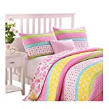 Brandream Twin Full Queen Size Pink Polka Dot Stripe Floral Quilt Set