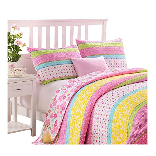 Brandream Full Queen Size Pink Polka Dot Stripe Floral Quilt Set