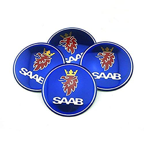 Ycsm 65mm Car Emblem Badge Sticker Wheel Hub Caps Center Cover Badge Sticker Apply to for Saab 4pcs ()