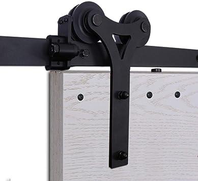 CCJH 9FT-275cm Herraje para Puerta Corredera Kit de Accesorios para Puertas Correderas Rueda Riel Juego para Una Puerta de Madera: Amazon.es: Bricolaje y herramientas