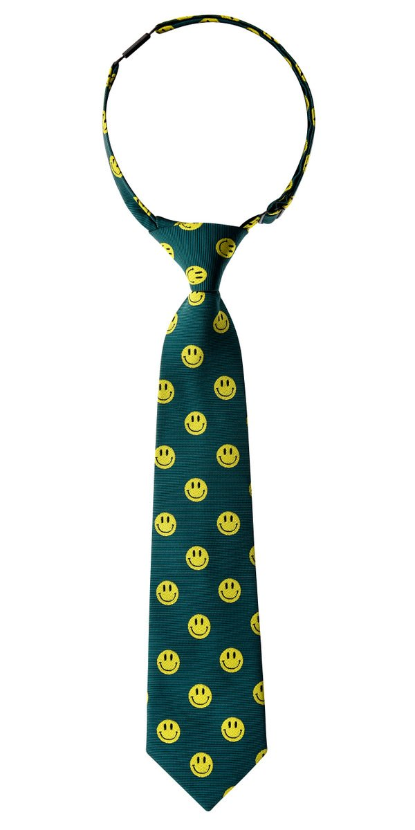 Retreez Happy Smiley Face Emoticon Woven Pre-tied Boy's Tie - Green, Christmas Gift - 4-7 years