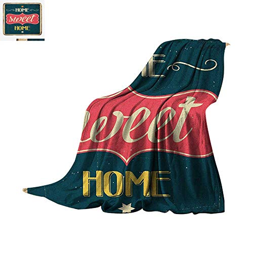 Home Sweet Home Lightweight Blanket Weathered Looking Retro Sixties Style Sign Image with Motivational Phrase Velvet Plush Throw Blanket 50