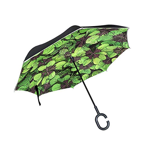 - Stowely Tiffanyuo Lucky Four Leaf Clover Retro Charm Car Reverse Umbrella Folding Sun or Rainproof and Windproof Portable Umbrella with C-Shaped Handle