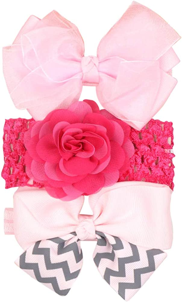 COUXILY Baby Girls Soft Cotton Headbands Bow Knotted Hairband Headwrap Elastic Solid and Printed Color Bow Turban Hair Hoops for Toddlers Babies Kids Gift Set