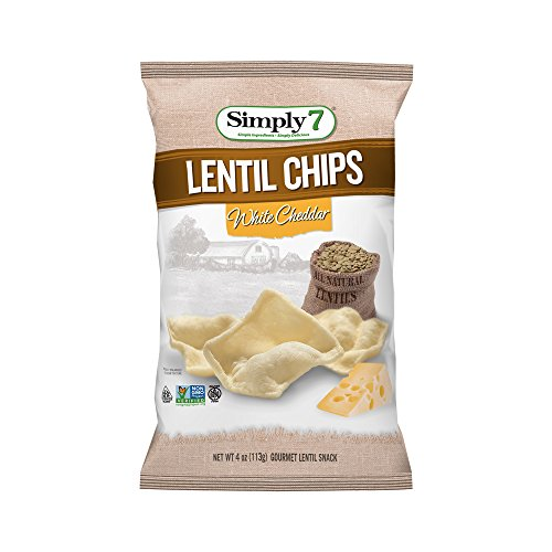 Chip White (Simply7 Gluten Free Lentil Chips, White Cheddar, 4 Ounce (Pack of 12))