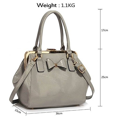 Tote Cws00258b Bags LeahWard Handbags Shoulder Leather grey 258 Holiday Women's Faux FxwOnPqHU
