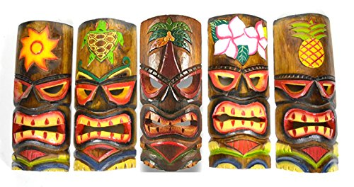 SET OF 5 HAND CARVED POLYNESIAN HAWAIIAN TIKI STYLE MASKS 12 IN TALL turtle pineapple colorful flower parrot - Parrot Tiki Bar