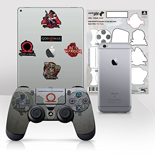 Controller Gear Con licencia oficial God of War Dualshock 4 Wireless Controller y Tech Skin Set Twin Rams - PlayStation 4
