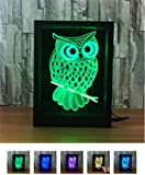 L&T STAR Owl Fashion Creative 3D Gift Lamp Bedside Lamp Led Night Light Decorative Atmosphere Acrylic Photo Frame