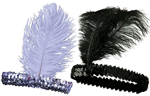 iLoveCos Roaring 20's Headband Sequined Showgirl Flapper Elastic Ostrich Feather Plume Costume Headband Headpiece One size fits Most-Black and (The Roaring 20s Fashion)