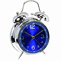 Non-ticking Alarm Clock Retro Vintage Bedside Silent Quartz Analog Twin Bell Alarm Clock With Loud Alarm and Nightlight Blue