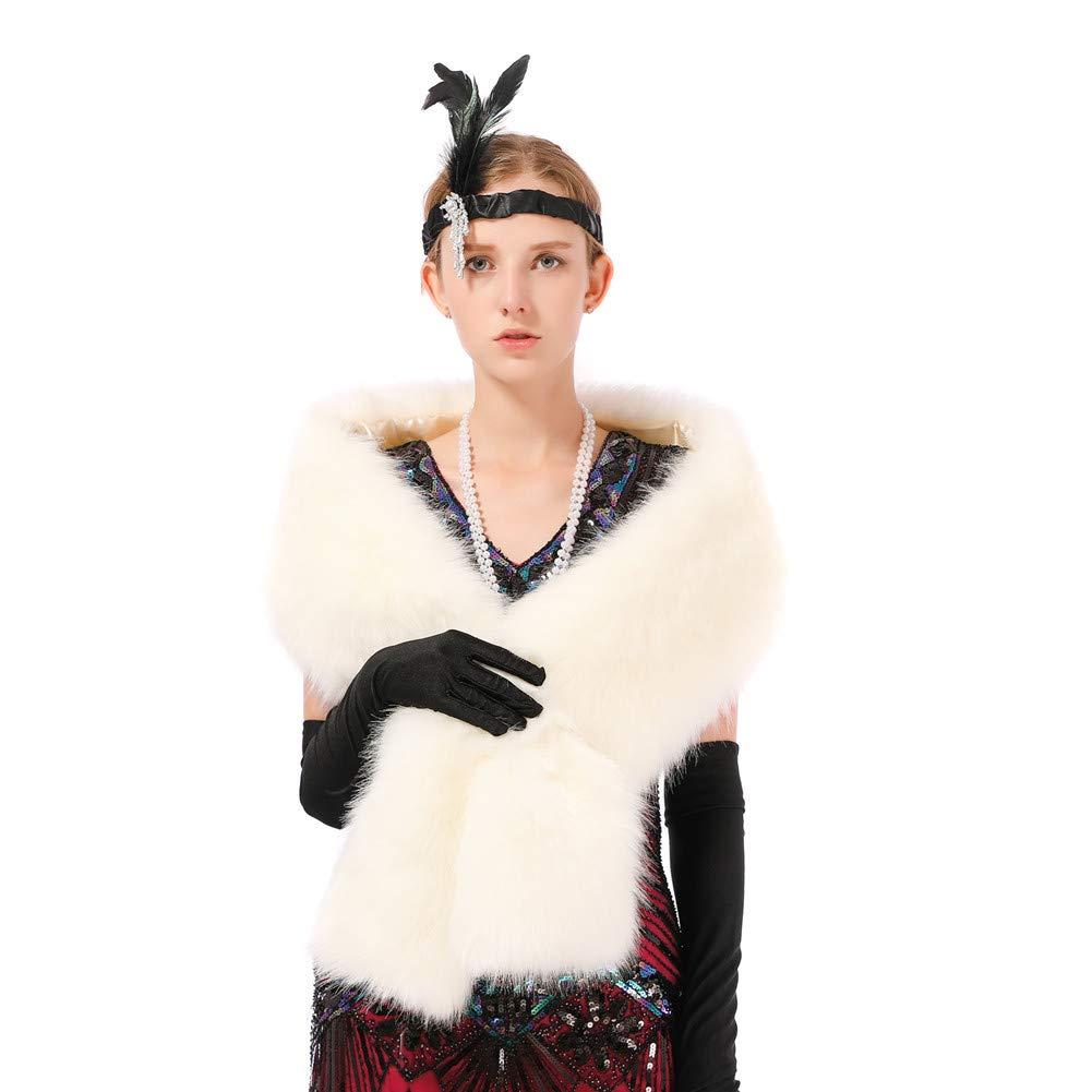 Dikoaina Women's Winter Fake Faux Fur Scarf Wrap Collar Shawl Shrug by Dikoaina