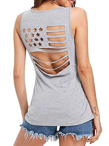 - Inorin Womens American Flag Tank Tops Flowy Long Sleeveless Cut Out Tunic T Shirt