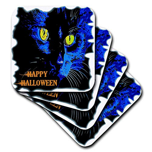 3dRose Taiche - Vector - Halloween Black Cat - Cute Happy Halloween Moonlight Black Cat Vector - set of 4 Ceramic Tile Coasters (cst_298257_3)