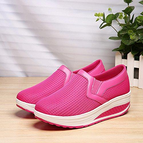 SHAKE Frauen Form UPS Mesh Slip-On Casual Walking Keile Schuhe Atmungs Workout Sneakers für Frauen Rose