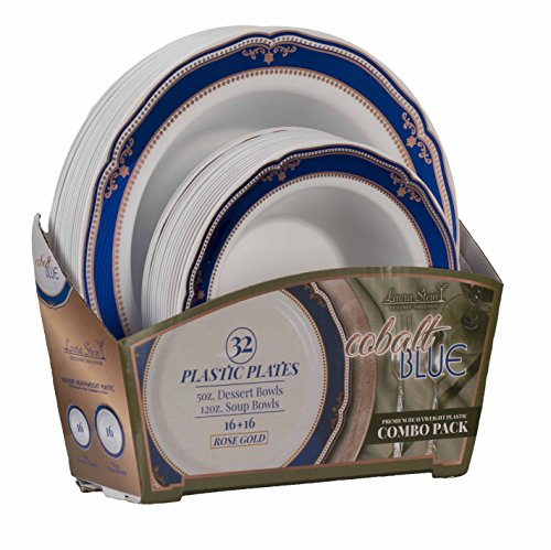 Cobalt Blue Rim Soup - Laura Stein Party Bowls Set of 32 Disposable Dinnerware Set White Bowls With Blue & Rose Gold Border Includes 16-5oz Dessert Bowls + 16 12oz Soup Bowls for Birthdays, Weddings, Events Holidays.