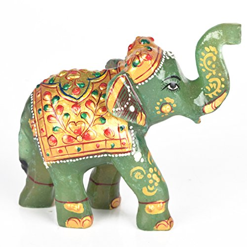 gemhub Green Jade Gemstone Elephant Statue Approximately 1079.00 Ct Wealth Lucky Figurine Home Decor Gift DB-469