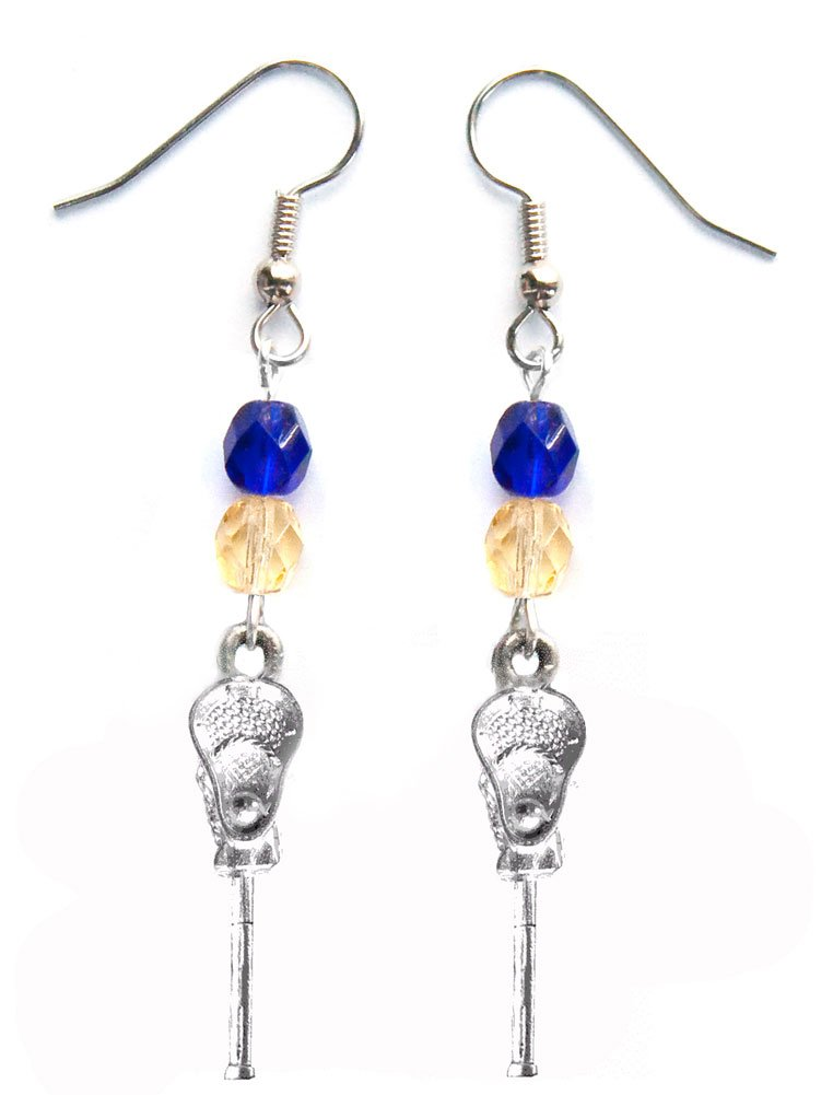 ''Lacrosse Stick & Ball'' Lacrosse Earrings (Team Colors Royal Blue & Gold)