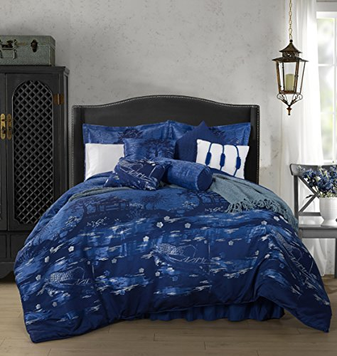Kochi by Chezmoi Collection - 9 Piece Jacquard Oriental Boat On The River - Oversized Bedding Comforter Set (Collection King Bedding 9 Piece)