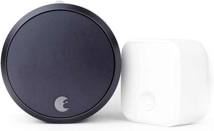 August Home AUG-SL03-C02-G03 Smart Lock Pro + Connect Wi-Fi Bridge Bundle