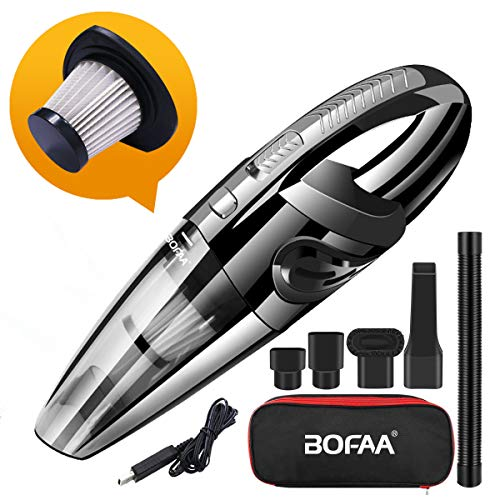 BOFAA Car Vacuum Cleaner, Cordless Handheld Vacuum Cleaner with Bag, Hose, Hepa Filter, 5KPA Portable Vacuum Cleaner Wet and Dry for Car and Home, Pet Hair Cleaning, High Power