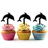 TA0229 Dolphin Silhouette Party Wedding Birthday Acrylic Cupcake Toppers Decor 10 pcs
