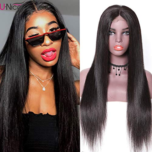 - UNice Hair Bettyou Series 13x4 Straight Lace Front Human Hair Wigs, 180% Density, Brazilian Virgin Hair Lace Frontal Wig with Baby hair Black Color (20 inch)
