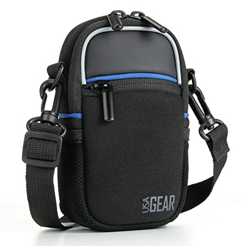 USA GEAR Compact Camera Case (Black) Point and Shoot Camera Bag with Accessory Pockets, Rain Cover and Shoulder Strap - Compatible with Sony CyberShot, Canon PowerShot ELPH, Nikon COOLPIX and More