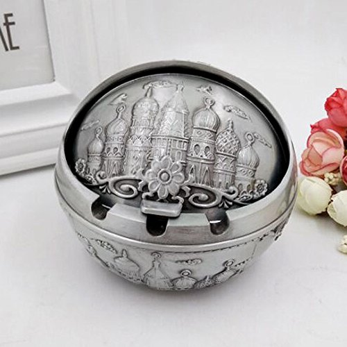 Znzbzt Cover with stylish and creative personality trend-ashtray living room small retro ashtray, a large number of ancient Tin Castle.
