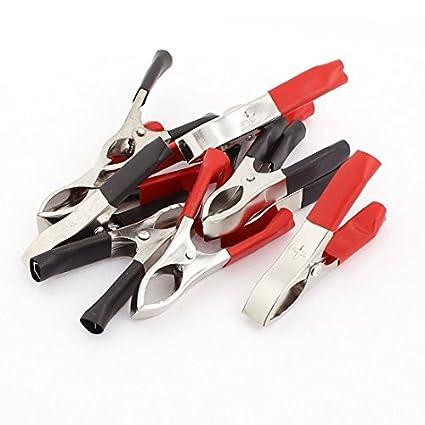 Pinzas de prueba de la batería de plástico botas de coches cocodrilo Pinza 10Pcs Negro Rojo
