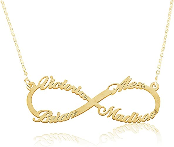 Quality.A Initial Necklace Personalized Heart Pendant Necklace 925 Sterling Silver Gold-Plated-Base 14