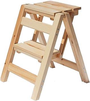 BOC Escalera de 2 peldaños, taburete de madera maciza, banco de la cocina de la biblioteca doméstica, banco de zapatos, puesto de flores: Amazon.es: Bricolaje y herramientas