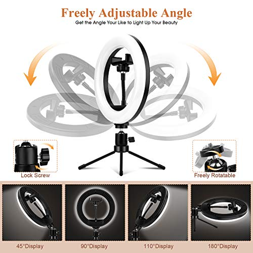8\'\' Selfie Ring Light with Tripod Stand & Flexible Phone Holder for YouTube Video/Live Stream/Makeup/Photography, Dimmable Ring Light with 3 Light Modes & 10 Brightness Level