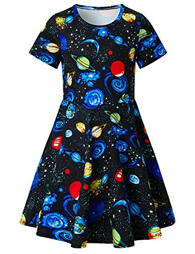 ALISISTER Planet Dress Girls Cute Space Sundress 90S Toddler Twirl Galaxcy Dress Up Short Sleeved Kids Birthday Party Outfits Crew-Neck Playwear Pink ()