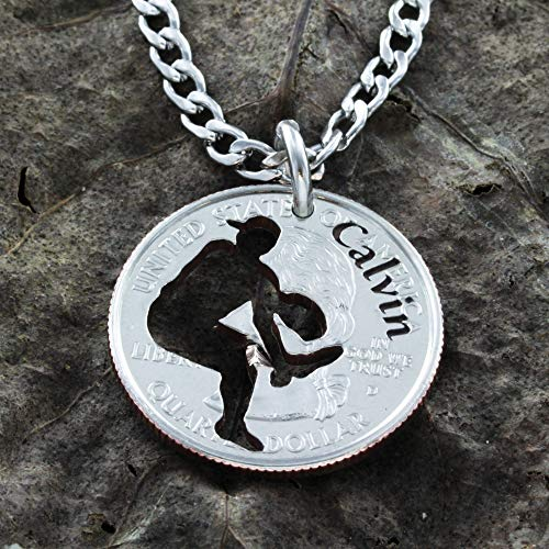 Personalized Baseball Catcher Necklace, Custom Engraved Name, Sports Gifts Guys, Graduation or Championship, Softball, Hand Cut Coin, By Namecoins