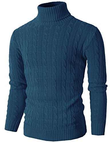 H2H Mens Casual Turtleneck Slim Fit Pullover Sweaters with Twist Patterned BLUE US L/Asia XL (KMOSWL033)