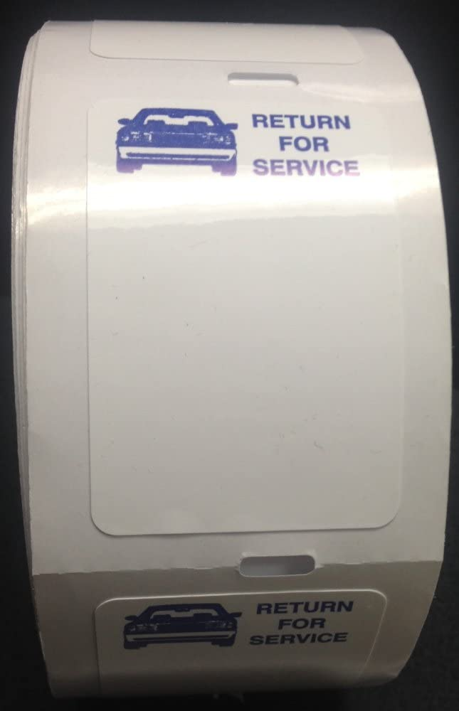 Static Cling Return for Service White Labels for Thermal Printer Oil Change Quantity 1000 (2 Rolls) (A42)