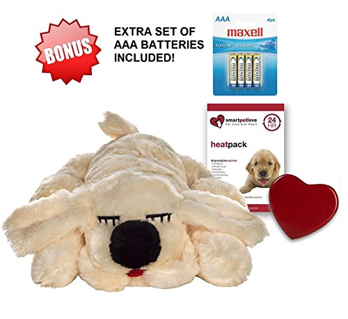 Smart Pet Love Golden Snuggle Puppy Heartbeat Pillow for Dogs PLUS BONUS Extra Set of 4 AAA Batteries Included (Pet Packs Puppy)