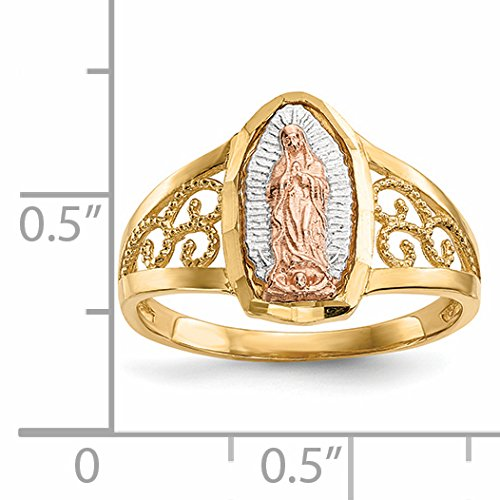 ICE CARATS 14k Two Tone Yellow Gold White Lady Of Guadalupe Band Ring Size 7.00 Religious Fine Jewelry Gift Set For Women Heart by ICE CARATS (Image #4)