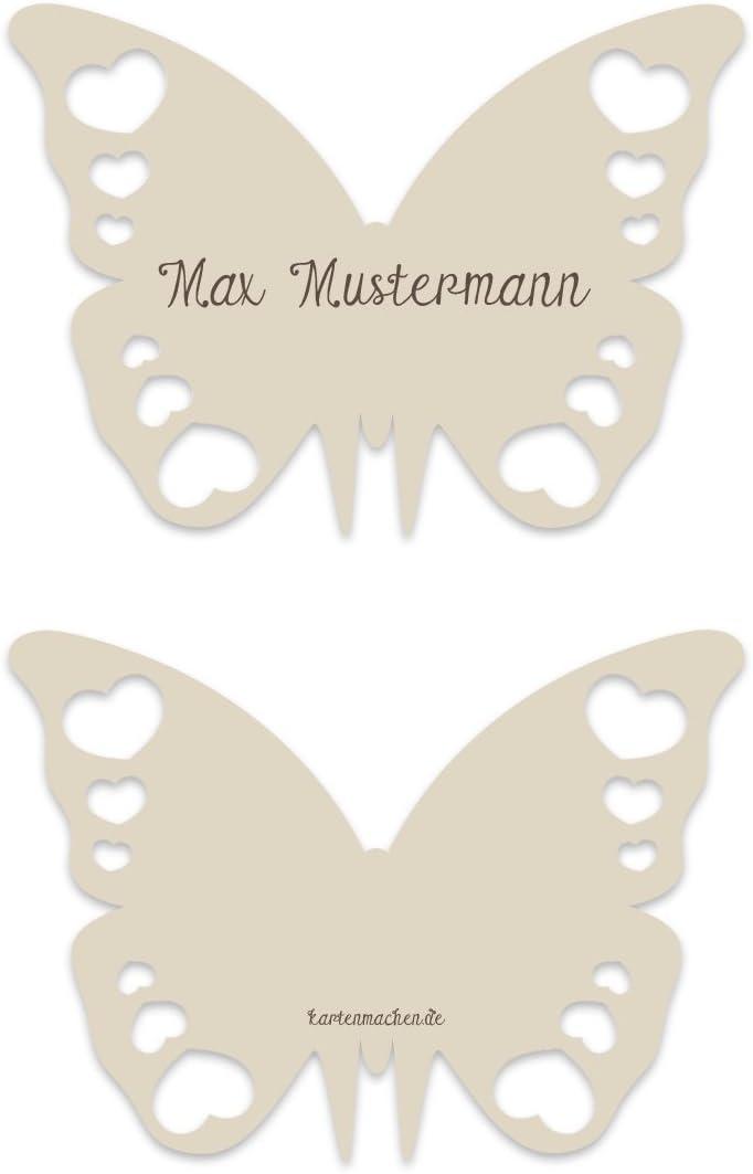 lasergeschnittene Platzkarten in Sand 30 St/ück Tischkarten Hochzeit als Schmetterling