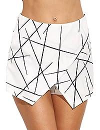 WDIRA - Pantalones Cortos para Mujer, diseño geométrico asimétrico, Cintura Media