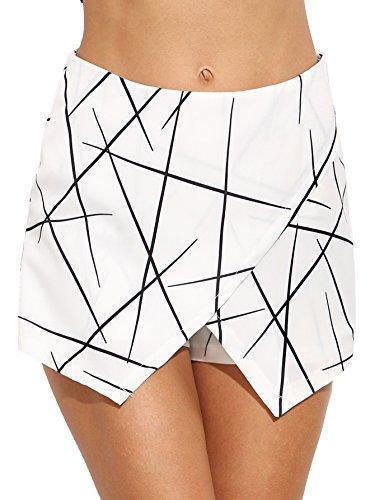 WDIRA Women's Mid Waist Skinny Asymmetrical Geometric Print Wrap Casual Shorts