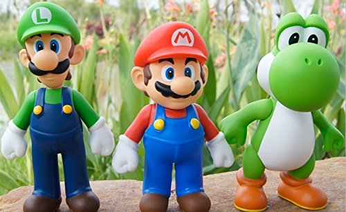 3 Pieces of Super Mario Bros Luigi Mario Action Figures Toys Doll