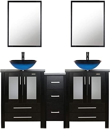 Amazon Com 60 Black Bathroom Vanity Double 0 5 Tempered Glass Vessel Sink Sea Blue Orb Faucet Drain Parts Top Bowl Removable Pedestal Mdf Board Mirror Mounting Ring Furniture Decor