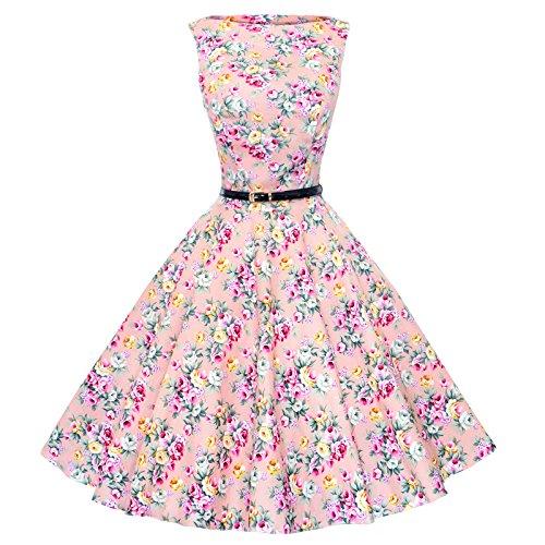 Maggie Tang–Vestido de estilo años 50,Vintage, Rockabilly Rosa Rosa