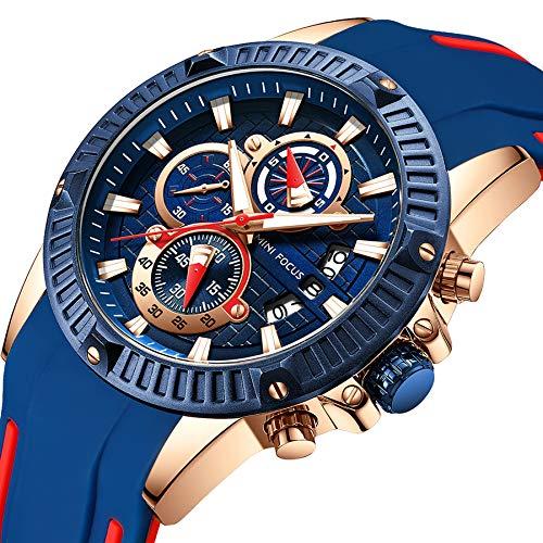 MINI FOCUS Men's Business Watch, Fashion Watch Chronograph (Blue, Alloy Case), Casual Quartz Wristwatch for Family Gift