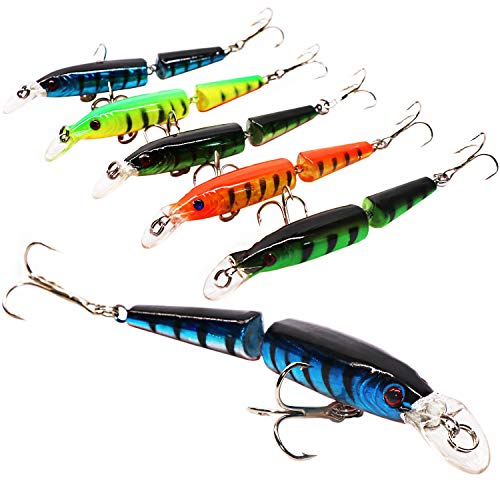 SUPERTHEO Fishing Lures Jointed Plastic Minnow Spoons Crankbaits VIB Topwater Sinking Fishing Baits (Model-A)