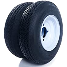 "Set of 2 Trailer Tires & Rims 480-8 4.80-8 4.80x8 8"" B 4 Lug/4"" Hole Bolt Wheel White Spoke"