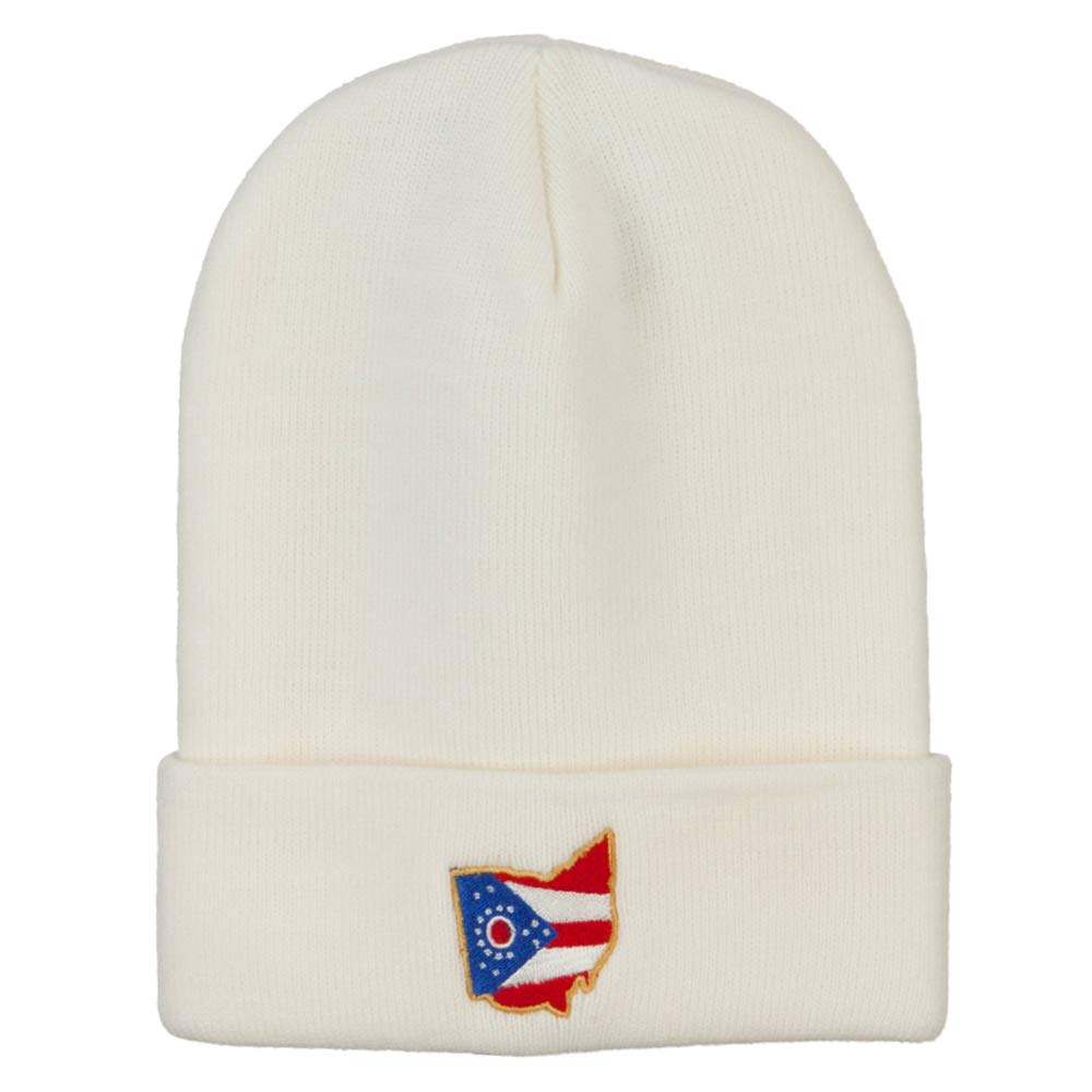 e4Hats.com Ohio Map State Flag Embroidered Long Beanie