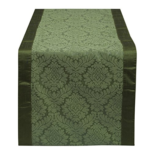 Green Table Runner 14x48 inches Perfect For Small Table, Round Table, Side, Corner & Center Table - By The White Petals (Dresser Top Runner)